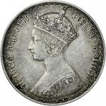 Victoria (1837-1901), Florin, 1863, Gothic crowned bust left, rev. crowned shields cruciform, emblem