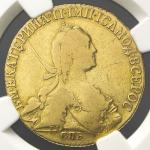 RUSSIA Empire 帝政ロシア 10Roubles 1773 NGC-F15 VG~F