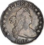 1805 Draped Bust Half Dollar. O-104, T-10. Rarity-5-. VF-30 (NGC).