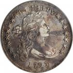1795 Draped Bust Silver Dollar. BB-51, B-14. Rarity-2. Off-Center Bust. AU-50 (PCGS).