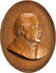 1885 Grover Cleveland Indian Peace Medal. Bronze. 59.2 mm x 75.4 mm oval. Julian IP-46. Mint State.