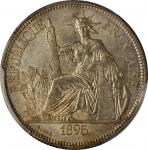 1895-A年坐洋一圆银币。巴黎造币厂。FRENCH INDO-CHINA. Piastre, 1895-A. Paris Mint. PCGS MS-62 Gold Shield.