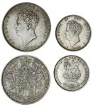 George IV (1820-30), Halfcrown, 1825, third issue (ESC 2371 {642}; S.3809); also, Shilling, 1825, th