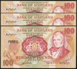 Bank of Scotland, £100 (3), 9 February 1994, serial number A 389848/849/850, red and multicoloured,