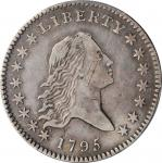 1795 Flowing Hair Half Dollar. O-120, T-4. Rarity-6+. Two Leaves. VF Details--Cleaned (PCGS).