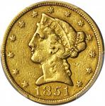 1851-C Liberty Head Half Eagle. VF Details--Cleaned (PCGS).