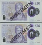 Bank of England, Sarah John, polymer £20, ND (20 February 2020), serial number AA01 001845/1846, pur