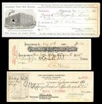 A Group of Checks, Drafts and Receipts, Some with Imprinted Revenue Stamps. A quick glance reveals a