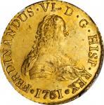CHILE. 8 Escudos, 1751-So J. Santiago Mint. Ferdinand VI. NGC Unc Details--Salt Water Damage.