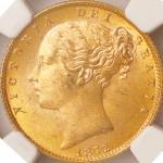 英国 (Great Britain) ヴィクトリア女王像 ヤングヘッド/楯図 1ソブリン金貨 1872年 KM736.2 / Victoria Young Head 1 Sovereign Gold