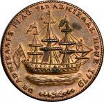 """1778-1779"" (ca. 1780) Rhode Island Ship Medal. Betts-563, W-1740. Wreath Below Ship. Brass. AU Deta"