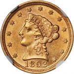 1892 Liberty Quarter Eagle. MS-61 (NGC).