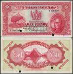 Reserve Bank of New Zealand, specimen £50, 1 August 1934, dark blue serial number T000000, dark red,