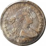 1797 Draped Bust Silver Dollar. BB-73, B-1. Rarity-3. Stars 9x7, Large Letters. AU-53 (PCGS).