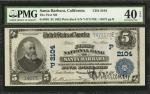 Santa Barbara, California. $5 1902 Plain Back. Fr. 603. The First NB. Charter #2104. PMG Extremely F