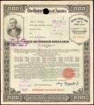 United States of America. Under the Second Liberty Loan Act. $500 Series E Ten Years Defense Savings