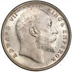 BRITISH INDIA: Edward VII, 1901-1910, AR rupee, 1908/7(b), KM-508, S&W-7.42, a very rare overdate, a