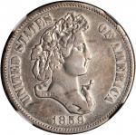 1859 Pattern Half Dollar. Judd-241, Pollock-297. Rarity-4. Silver. Reeded Edge. Proof. VF Details--I