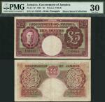 Government of Jamaica, £5, 30 November 1942, serial number A/1 93919, maroon on multicolour underpri