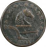 1788 New Jersey copper. Maris 77-dd (DS1). Rarity-3. Running Fox. EF Detail, Environmental Damage (P