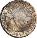 GUATEMALA. Central American Republic. 8 Reales, 1846/2-NG AE. Nueva Guatemala Mint. NGC MS-63.