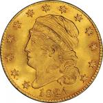 1824 Capped Head Left Half Eagle. Bass Dannreuther-1. Rarity-5+. Mint State-64+ (PCGS).