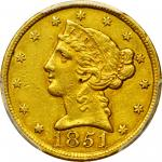 1851-C Liberty Head Half Eagle. AU Details--Cleaning (PCGS).