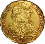 COLOMBIA. 8 Escudos, 1784-P SF. Popayan Mint. Charles III. NGC MS-63.