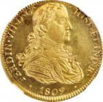 MEXICO. 8 Escudos, 1809-Mo HJ. Mexico City Mint. Ferdinand VII. NGC MS-64★.
