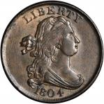 1804 Draped Bust Half Cent. C-13. Rarity-1. Plain 4, Stemless Wreath. EF-40.