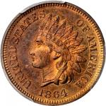 1864 Indian Cent. Bronze. L on Ribbon. Snow-PR1. Rarity-7. Proof-65 RB (PCGS). Eagle Eye Photo Seal.