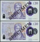 Bank of England, Sarah John, polymer £20, ND (20 February 2020), serial number AA01 000601/666, purp
