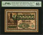 DANZIG. Senate of the Municipality - Free City. 5 Millionen Mark, 1923. P-23. PMG Gem Uncirculated 6