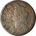 1786 Connecticut Copper. Miller 5.10-P, W-2655. Rarity-5+. Mailed Bust Left. VG-10 (PCGS).