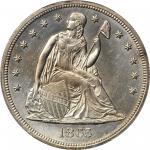 1865 Liberty Seated Silver Dollar. OC-4. Rarity-4+. Bar 6. MS-63 (PCGS).