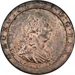 George III (1760-1820), Penny, 1797, laureate and draped bust right, ten leaves in wreath, rev. Brit