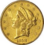 1858-O Liberty Head Double Eagle. AU Details--Scratch (PCGS).