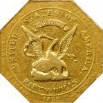 1852 Augustus Humbert $50. Reeded Edge. K-11. Rarity-5. 887 THOUS., Target Reverse. AU-50 (NGC).