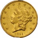 1851-O Liberty Head Double Eagle. MS-60 (NGC).