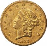 1853-O Liberty Head Double Eagle. Winter-1, the only known dies. AU-50 (PCGS).