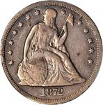 1872-CC Liberty Seated Silver Dollar. OC-1, the only known dies. Rarity-3+. VF Details--Damage (PCGS