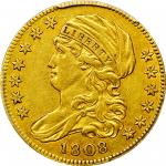 1808 Capped Bust Left Half Eagle. BD-3. Rarity-4. Normal 5D. EF-45 (PCGS). CAC.