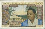 x Banque Centrale, Republique du Cameroun, 5000 francs, ND (1961), serial number S.106 383, (Pick 9,