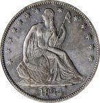 1844-O Liberty Seated Half Dollar. WB-22, FS-301. Rarity-4. Doubled Date. AU-50 (ICG).