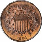 1864 Two-Cent Piece. FS-401. Small Motto. MS-65 RB (PCGS). CAC.