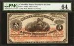 COLOMBIA. Banco Prendario de Soto. 5 Pesos. January 1, 1884. P-S796a. PMG Choice Uncirculated 64.