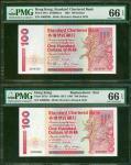1993年渣打银行100元一对,编号A000298及Z000298,均评PMG66EPQ