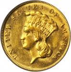 1874 Three-Dollar Gold Piece. MS-62 (PCGS).