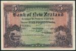Bank of New Zealand, specimen £5, Wellington, 1 April 1923, serial number 820001-920000, purple and