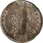 1803 Draped Bust Silver Dollar. BB-255, B-6. Rarity-2. Large 3. AU-55 (NGC).